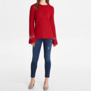 NEW Karl Lagerfeld pearl bell sleeve sweater S